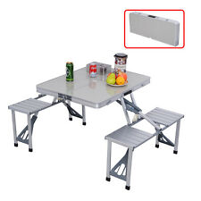 COSTWAY Outdoor Garden Aluminum Portable Folding Camping Picnic Table W/ 4 Seats