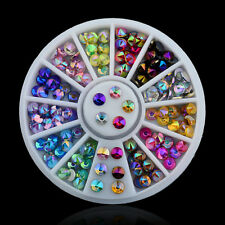 Stylish 3D Acrylic Nail Art Tips Multi Glitter Rhinestones Gems Crystal Wheel