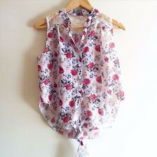 Topshop Floral Tie Front Top. Size M/L. (Chiffon, Lace, UK 10, Sleeveless)