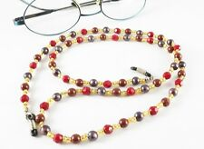 """EYEGLASS SUNGLASS CORD RETAINER HOLDER CHAIN NECKLACE RED BROWN PURPLE BEADS 27"""""""