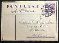 1936 Batavia Netherlands Indies Stationery Air Letter Cover To Rotterdam Holland