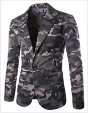 Mens Camouflage Lapel Collar Blazer Two Button Slim Casual Coats Jacket Suit