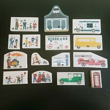Cats Meow Village Figures Fire Engine People School Bus Bandstand Kids Lot of 15