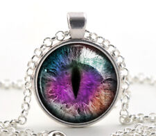 Purple Dragon Cat Eye Necklace Pendant - Silver Fantasy Color Photo Art Jewelry
