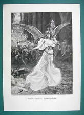 ANGEL Spirit of Heroism Leading Warriors Forest - 1890s Antique Engraving Print