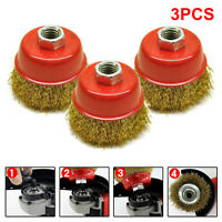3Pcs 65mm M14 Rotary Brass Steel Wire Brush Crimp Cup Set Wheel Angle Grinder