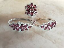 Lab Created Ruby White Cubic Zirconia Rhodium Over Sterling Silver Ring/Earrings