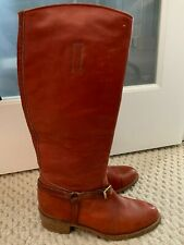 Women's Vintage Frye Cognac Leather Harness Tall Riding Boots Size 9
