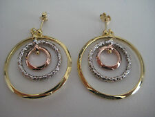 9ct 3 colour gold HOOP earrings FREE FALLING in 3 dimensional design HOT ARRIVAL