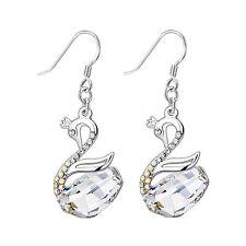 18K White GP White Swan Crystal Earring with Swarovski Element Crystal E63D