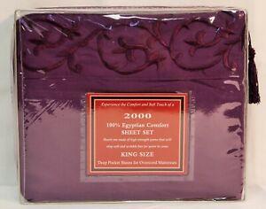 Egyptian Comfort 2000 Series Purple Bed Sheet Set Deep Pocket King Queen Full