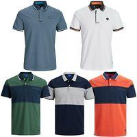 Jack and Jones Mens T Shirts Pique Polo Shirt Plain Casual Summer T-Shirts Tops