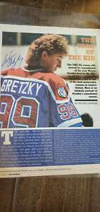1982-83 WAYNE GRETZKY SIGNED AUTO GOAL MAGAZINE PHOTO OILERS KINGS WHA PSA DNA