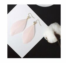 Boho Festival Party Boutique Luxury Uk Baby Pink Gold Fashion Feather Earrings
