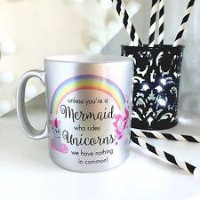 Rainbow Mermaid & Unicorn 10 oz Silver Sparkle Mug