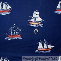 BonEful Fabric FQ Cotton Quilt Navy Blue Sail Boat Ship Nautical Flag Beach Boy