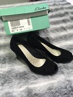 Ladies Clarks Black Suede High Heel New Shoes Size 5.5