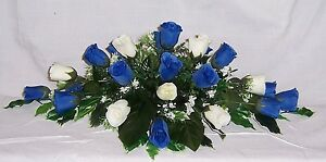 gorgeous wedding flowers top table decoration royal blue & ivory roses gyp