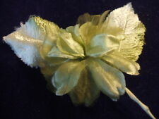 Vintage Millinery Flower Green Satin Chiffon +leaf G28B
