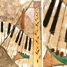 "24""x36"" LA MUSICA II by  TABELA PIANO KEYBOARD MUSICAL NOTES INSTRUMENTS CANVAS"