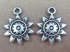 50pc Retro Tibetan Silver Dangle Charm Sunflower Bead Accessories Findings PJ39