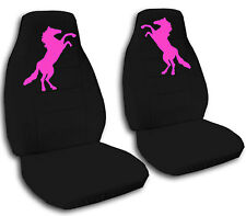 Mustang Horse Car Seat Covers in Hot Pink & Black Velour Front Set