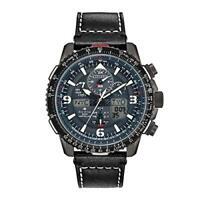 Men's Citizen Promaster Skyhawk A-T Black Leather Strap Watch JY8077-04H