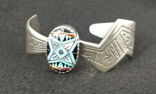 RMT Roderick Tenorio Sterling Silver Turquoise Cuff Bangle Bracelet Pollack Star