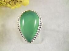 Women's Ring Size 8.25 Green Onyx Gemstone Sterling Silver Over Copper Handmade