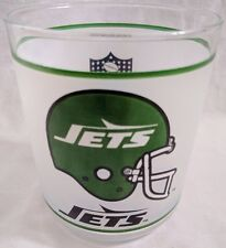 NFL NEW YORK JETS Football Vintage Frosted Drinking Glass Cup Rocks Bar by MOBIL