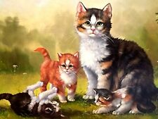 Sigmar Jugelt  - Katzenfamilie - Öl auf Holz 24 x 30 cm original Ölgemälde