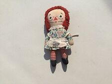 Vintage Raggedy Ann Doll Knickerbocker 1970's Removable apron blue floral body