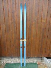 "VINTAGE  Wooden 79"" Skis BLUE Finish VERY NICE SET!!"