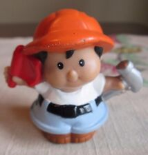 LITTLE PEOPLE   Fisher  Price HISPANIC Construction Worker  HARD HAT Hammer flag