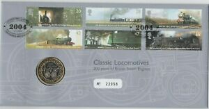 2004 TREVITHICK STEAM LOCAMOTIVE £2 COIN STAMP COVER SET IN MINT CONDITION.