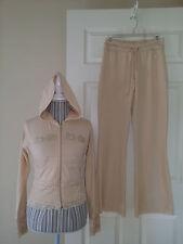 BEBE Chamomile 2 PcTruck suit Zip Hoodie & Pants Beige Stretch Cotton/Lace Sz. M