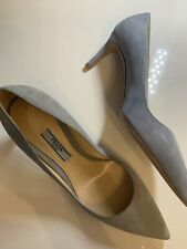 New Authentic Prada Sued Pointy Pumps - Astro Gray Size 36
