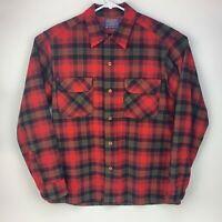 Pendleton Mens Medium Virgin Wool Shirt Red Plaid Flap Pocket Button Front