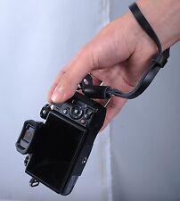 Black Leather Camera Hand Wrist Strap for EVIL ILDC MILC Mirrorless Small Camera