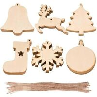 Wooden Christmas Tree Decorations Craft Hanging Bauble Blank Shapes With Hemp