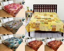 5 PC Wholesale Lot Indian Vintage Silk Patchwork Twin Kantha Blanket Quilt Decor