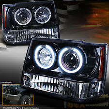 1993-1996 Jeep Grand Cherokee ZJ Dual Halo Projector LED Headlights Shiny Black