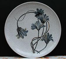 Keramik Wandteller Karlsruher Majolika Craquele - sehr groß !! Blumendesign !!!