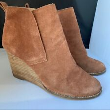 Lucky Brand Suede Leather Yoniana Wedge Booties Brown Boots Womens Size 8