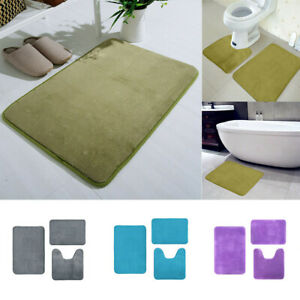 3PCS Memory Foam Bath Rug Pedestal Mat Anti Slip Luxury Bathroom Set Super Soft