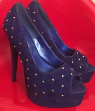 Blue Velvet With Stud Embellished Accent Stilettos Size 8.5 By Bumper