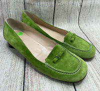 KATE SPADE Lime Green Suede Leather Flats Slip On Moccasins Shoes Women's 9.5 B