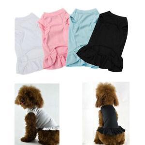 Summer Pet Clothes Basic Cotton Dog Puppy Apparel Skirt Dress Simple Tops New