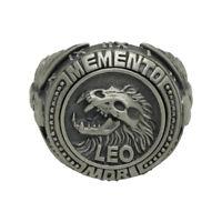Leo sign Skull sterling silver 925 biker masonic mens ring Memento Mori zodiac