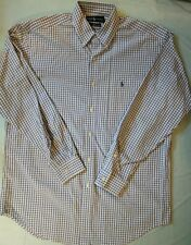 Ralph Lauren mens shirt Size M Medium Long Sleeve Blue white Plaid Dress Pony